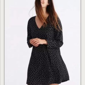 Madewell black Star Scatter Silk Button Dress